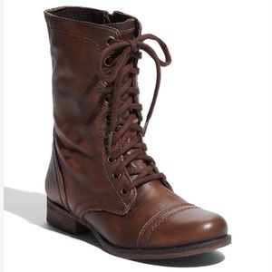 Steve Madden Troopa Combat Ankle Boots Brown -8
